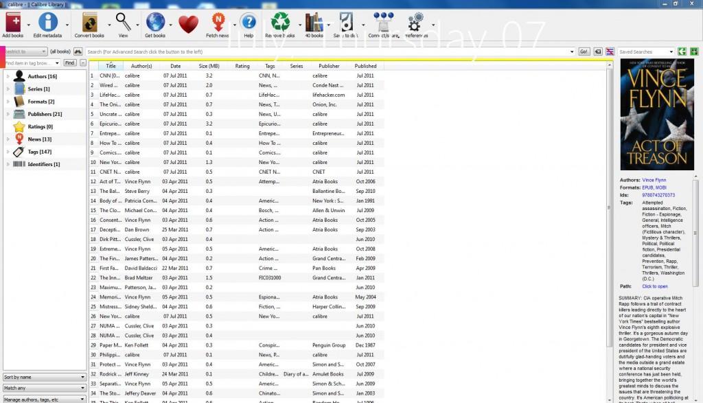 calibre ebook management user interface